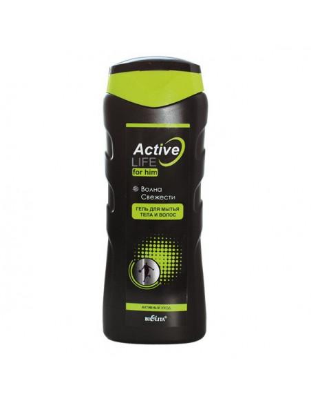 Active Life Гель для мытья тела и волос для него Волна свежести, 250мл