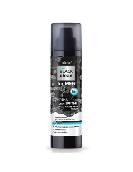 BLACK clean for MEN ПЕНА ДЛЯ БРИТЬЯ 3-в-1 с активным углем